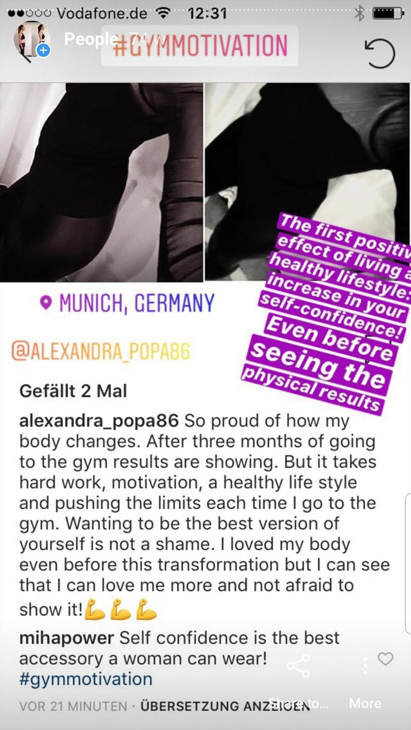 MihaPower personal training client testimonial instagram